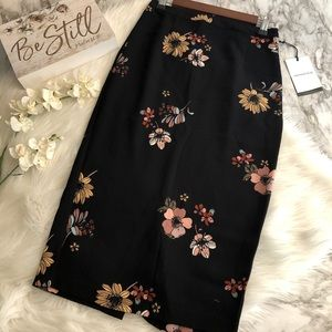 NWT Who What Wear Midi Skirt Black Floral Print, 2